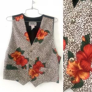 Vintage 1980's Forenza leopard print flower vest